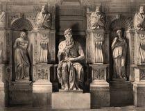 Винтажное фото Моисей Микеланджело, Римом, Италией 1890 Стоковая Фотография