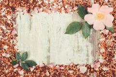 Винтажное фото, рамка высушенных одичалых лепестков розы, свежий цветок и зерна чая, космос экземпляра для текста Стоковые Фотографии RF