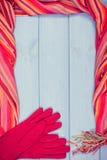 Винтажное фото, рамка перчаток и шали для женщины, одежда на осень или зима Стоковая Фотография RF