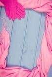 Винтажное фото, рамка womanly аксессуаров, одежда на осень или зима, космос экземпляра для текста Стоковая Фотография RF