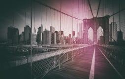Винтажное фото стиля Бруклинского моста Стоковая Фотография