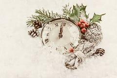 Винтажное фото часов рождества Стоковое Изображение RF