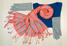 Винтажное фото, Womanly одежды на деревянной предпосылке, одежда на осень или зима Стоковое Изображение