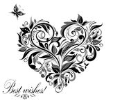 Винтажное флористическое сердце Стоковые Изображения RF