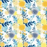 Винтажной безшовной цветки картины нарисованные рукой Стоковые Фотографии RF