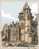 Винтажной взгляд нарисованный рукой старого замка в Бельгии иллюстрация штока