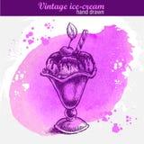 Винтажной мороженое нарисованное рукой ванильное Иллюстрация штока
