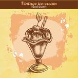 Винтажной мороженое нарисованное рукой ванильное Иллюстрация вектора