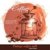 Винтажной нарисованная рукой мельница кофе с серией кофейных зерен Иллюстрация штока