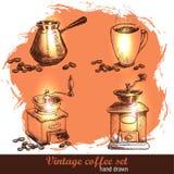 Винтажной нарисованный рукой комплект кофе с кофейными зернами Иллюстрация штока