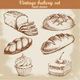 Винтажной нарисованный рукой комплект хлебопекарни стиля эскиза Иллюстрация вектора