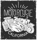 Винтажной печать футболки sidecar whith мотоцикла нарисованная рукой Бесплатная Иллюстрация
