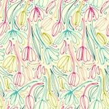 Винтажной флористической картина нарисованная рукой безшовная Цветки нарисованные рукой абстрактные причудливые Фольклорный стиль Стоковое Изображение