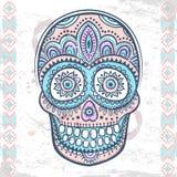 Винтажной этнической череп нарисованный рукой человеческий Стоковые Фотографии RF