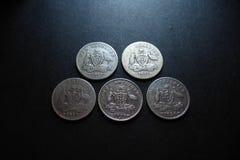 Винтажные австралийские серебряные монеты Стоковое Фото