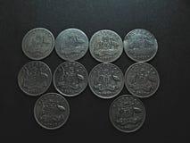 Винтажные австралийские серебряные монеты Стоковая Фотография RF
