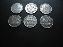 Винтажные австралийские серебряные монеты Стоковая Фотография