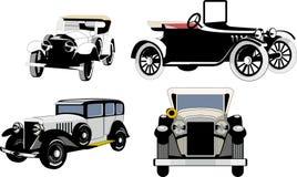 Винтажные автомобили автомобили старые установите силуэты Стоковое Изображение RF