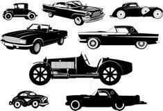 Винтажные автомобили автомобили старые установите силуэты Стоковые Фотографии RF