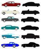 Винтажные автомобили в силуэте и цвете Стоковые Изображения