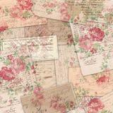 Винтажные Американа Ephemera и флористическая предпосылка коллажа - цветки камелии стоковые фото