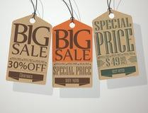 Винтажные бирки продажи стиля иллюстрация вектора