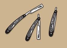 Винтажные богато украшенные прямые бритвы бесплатная иллюстрация