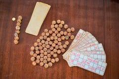 Винтажные бочонки и карточки lotto Стоковое Изображение RF