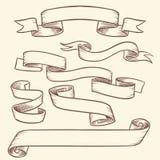 Винтажные викторианские знамена ленты переченя, старая изолированный комплект вектора ярлыков бирки рука нарисованный иллюстрация штока