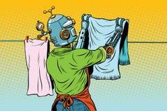 Винтажные виды работника робота до сухих одежд иллюстрация вектора