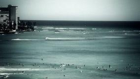 Винтажные Гаваи занимаясь серфингом Waikiki сток-видео