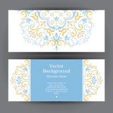 Винтажные горизонтальные карточки в восточном стиле иллюстрация штока