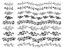 Винтажные декоративные границы Нарисованные рукой элементы дизайна вектора Стоковые Изображения RF