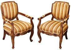 Винтажные деревянные барочные кресла изолированные на белизне Стоковое Фото
