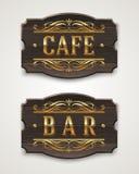 Винтажные деревянные знаки для кафа и адвокатского сословия иллюстрация штока