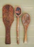 Винтажные деревянные ложки Стоковые Фото