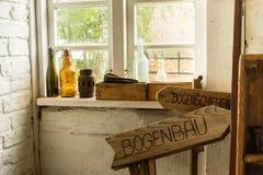 Винтажные деревянные плиты с немецкой литерностью стоковое фото rf