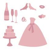 Винтажные значки приглашений свадьбы Стоковое фото RF
