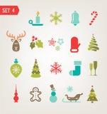 Винтажные значки рождества установили eps 10 Стоковые Фотографии RF