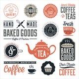 Винтажные дизайны кафа и хлебопекарни Стоковые Изображения