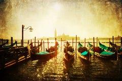 Винтажные изображения стиля посадки гондолы в Венеции Стоковое Изображение RF