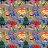 Винтажные иллюстрации гуаши акварели картины рождественской вечеринки украшений рождества стоковые изображения