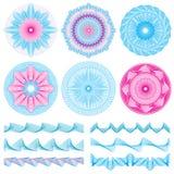 Винтажные линии границы и банкнота гравировки guilloche конструируют декоративный вектор элементов бесплатная иллюстрация