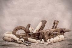Винтажные инструменты woodworking, стилизованное изображение hdr Стоковое Изображение