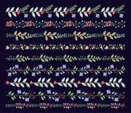 Винтажные или деревенские флористические границы и рассекатели Стоковые Фотографии RF