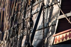 Винтажные и ретро детали старых парусников во время кануна ветрила Стоковые Фотографии RF