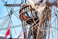 Винтажные и ретро детали старых парусников во время кануна ветрила Стоковое Изображение RF
