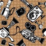 Винтажные камеры фильма безшовные Стоковая Фотография