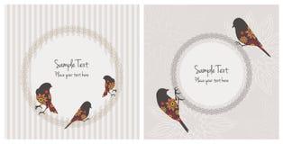 Винтажные карточки с птицами и цветками стоковое фото rf