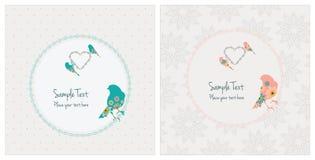 Винтажные карточки с птицами стоковая фотография rf